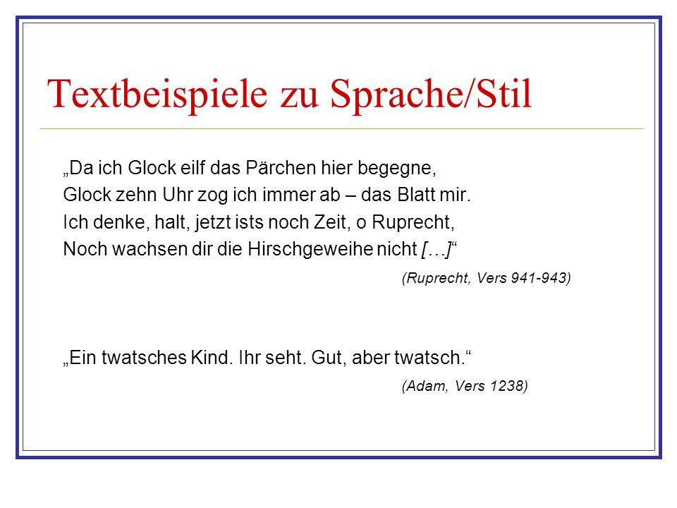 Textbeispiele zu Sprache/Stil Die Frau fand die Perücke im Spalier Bei Frau Margarethe Rull.