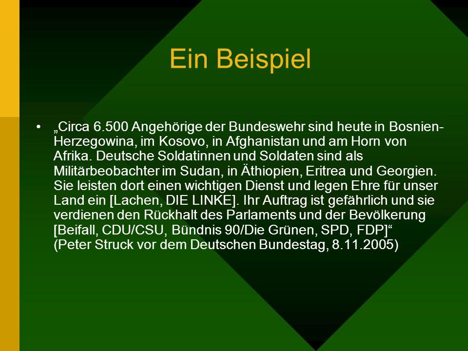 Ein Beispiel Circa 6.500 Angehörige der Bundeswehr sind heute in Bosnien- Herzegowina, im Kosovo, in Afghanistan und am Horn von Afrika.
