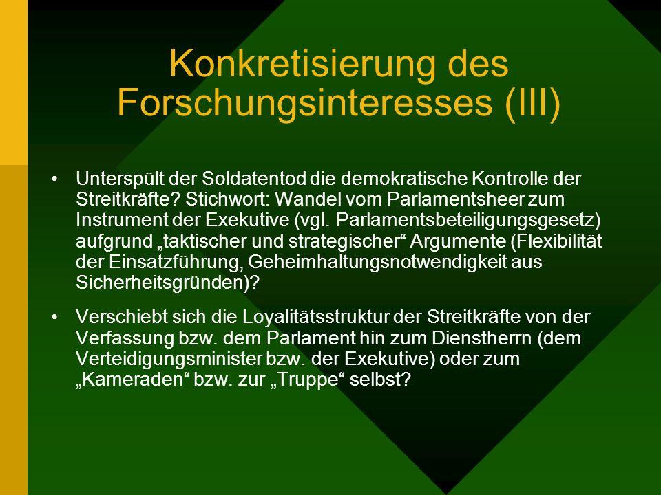 Konkretisierung des Forschungsinteresses (III) Unterspült der Soldatentod die demokratische Kontrolle der Streitkräfte.