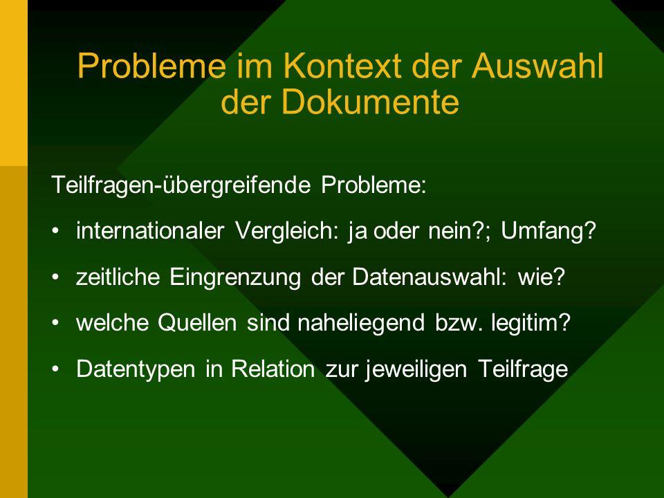 Probleme im Kontext der Auswahl der Dokumente Teilfragen-übergreifende Probleme: internationaler Vergleich: ja oder nein ; Umfang.