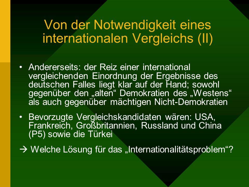 Von der Notwendigkeit eines internationalen Vergleichs (II) Andererseits: der Reiz einer international vergleichenden Einordnung der Ergebnisse des deutschen Falles liegt klar auf der Hand; sowohl gegenüber den alten Demokratien des Westens als auch gegenüber mächtigen Nicht-Demokratien Bevorzugte Vergleichskandidaten wären: USA, Frankreich, Großbritannien, Russland und China (P5) sowie die Türkei Welche Lösung für das Internationalitätsproblem