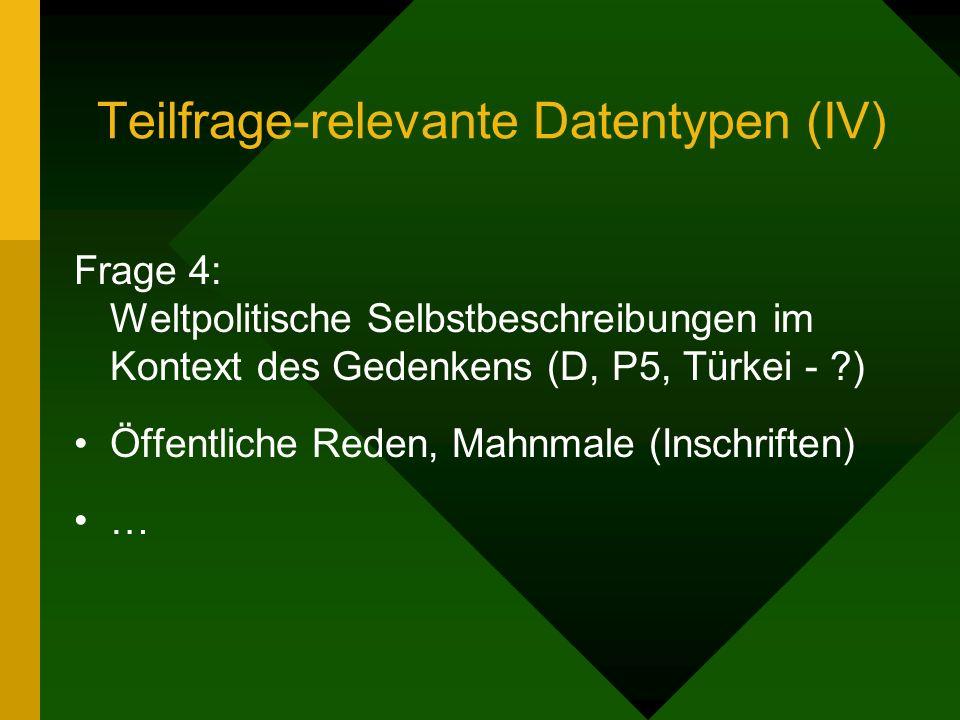Teilfrage-relevante Datentypen (IV) Frage 4: Weltpolitische Selbstbeschreibungen im Kontext des Gedenkens (D, P5, Türkei - ) Öffentliche Reden, Mahnmale (Inschriften) …