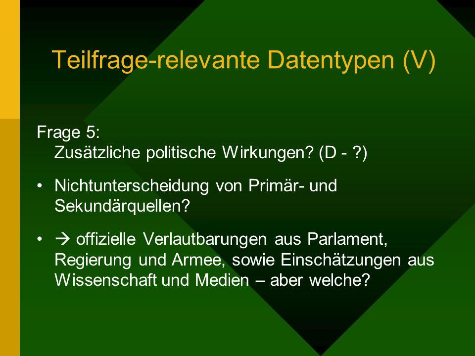 Teilfrage-relevante Datentypen (V) Frage 5: Zusätzliche politische Wirkungen.