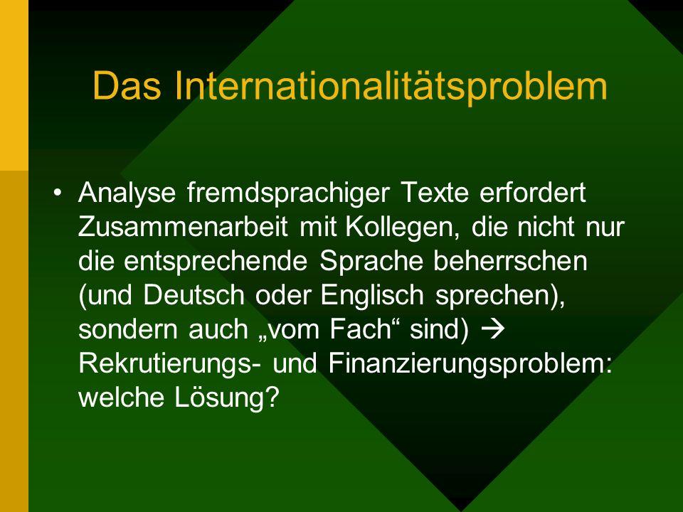 Das Internationalitätsproblem Analyse fremdsprachiger Texte erfordert Zusammenarbeit mit Kollegen, die nicht nur die entsprechende Sprache beherrschen (und Deutsch oder Englisch sprechen), sondern auch vom Fach sind) Rekrutierungs- und Finanzierungsproblem: welche Lösung