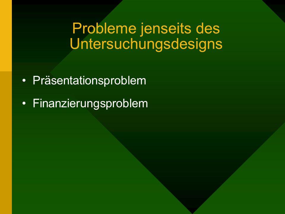 Probleme jenseits des Untersuchungsdesigns Präsentationsproblem Finanzierungsproblem