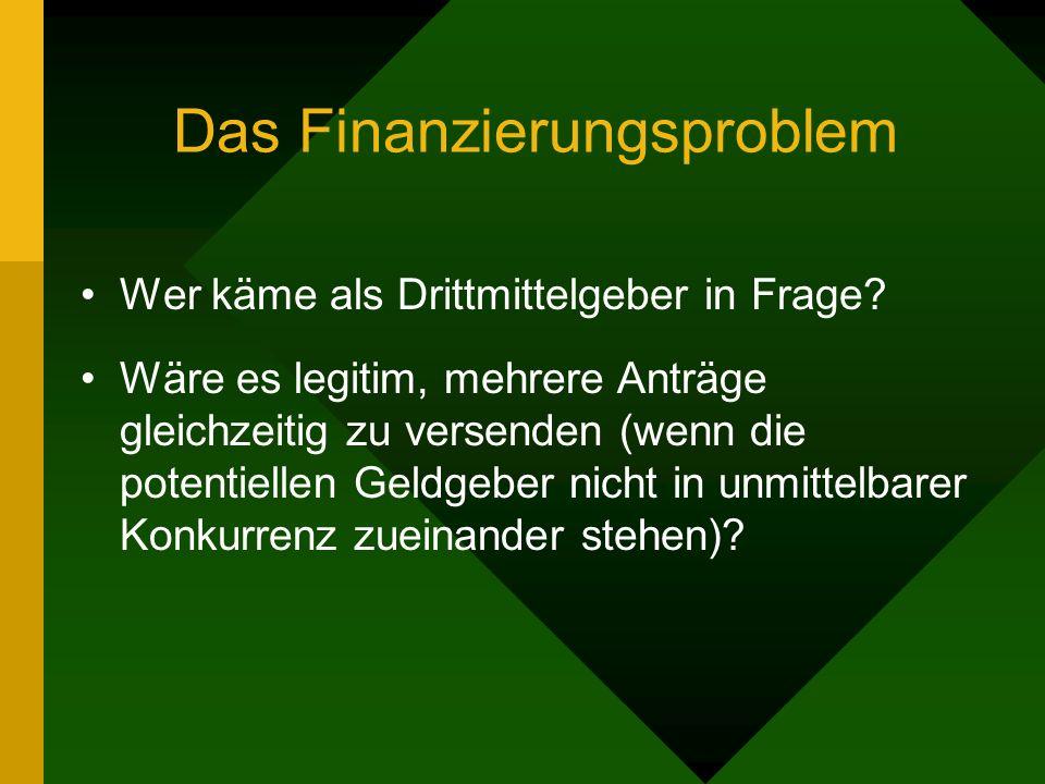 Das Finanzierungsproblem Wer käme als Drittmittelgeber in Frage.