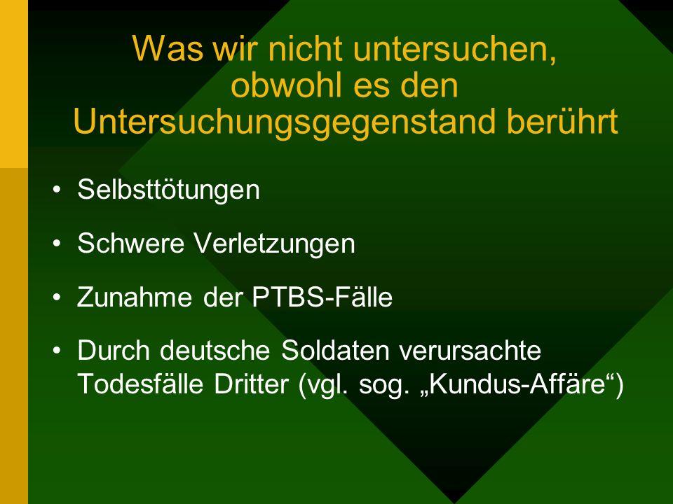 Was wir nicht untersuchen, obwohl es den Untersuchungsgegenstand berührt Selbsttötungen Schwere Verletzungen Zunahme der PTBS-Fälle Durch deutsche Soldaten verursachte Todesfälle Dritter (vgl.