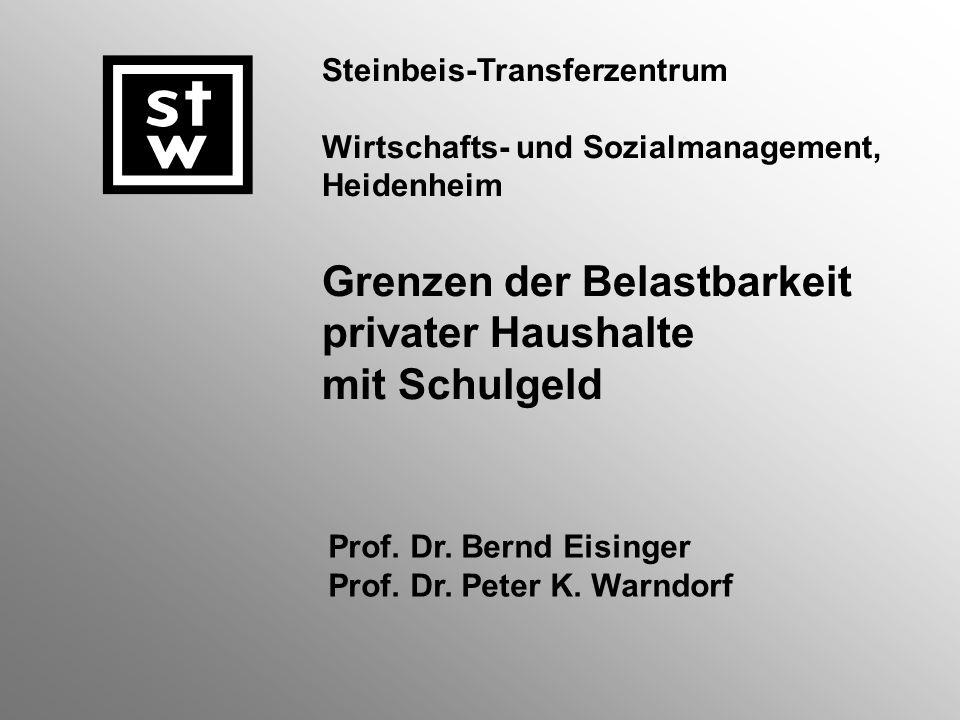 Steinbeis-Transferzentrum Wirtschafts- und Sozialmanagement, Heidenheim Grenzen der Belastbarkeit privater Haushalte mit Schulgeld Prof.
