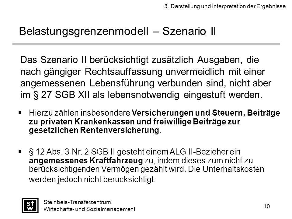 10 Steinbeis-Transferzentrum Wirtschafts- und Sozialmanagement Das Szenario II berücksichtigt zusätzlich Ausgaben, die nach gängiger Rechtsauffassung unvermeidlich mit einer angemessenen Lebensführung verbunden sind, nicht aber im § 27 SGB XII als lebensnotwendig eingestuft werden.