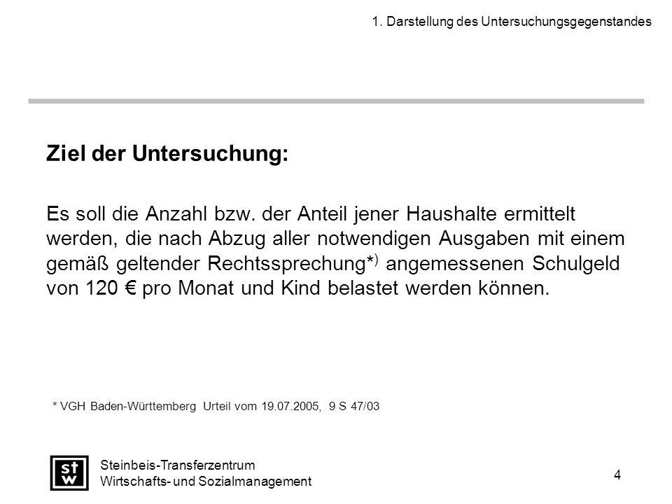 4 Steinbeis-Transferzentrum Wirtschafts- und Sozialmanagement Ziel der Untersuchung: Es soll die Anzahl bzw.