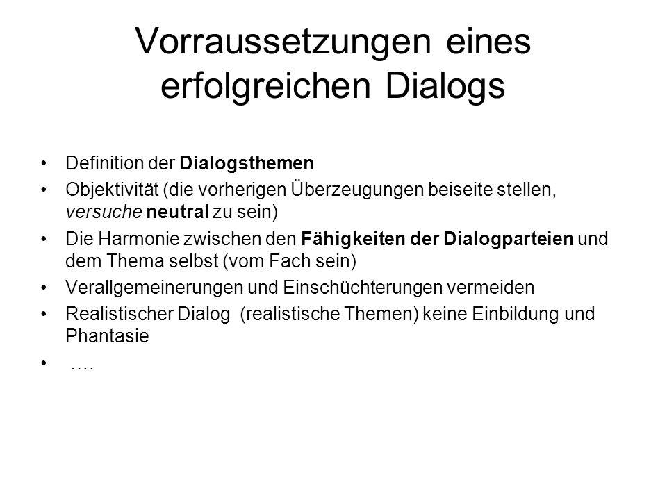 Vorraussetzungen eines erfolgreichen Dialogs Definition der Dialogsthemen Objektivität (die vorherigen Überzeugungen beiseite stellen, versuche neutra