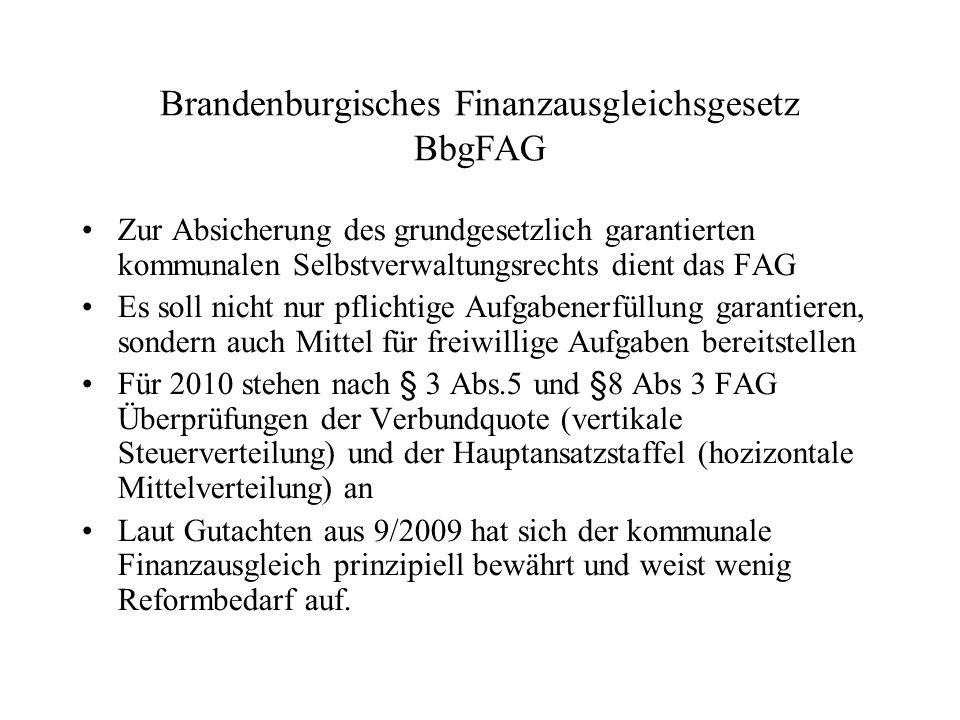 Brandenburgisches Finanzausgleichsgesetz BbgFAG Zur Absicherung des grundgesetzlich garantierten kommunalen Selbstverwaltungsrechts dient das FAG Es s