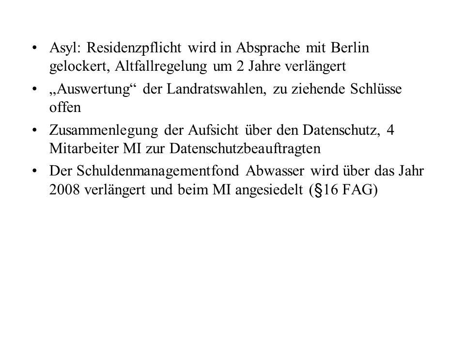 Asyl: Residenzpflicht wird in Absprache mit Berlin gelockert, Altfallregelung um 2 Jahre verlängert Auswertung der Landratswahlen, zu ziehende Schlüss