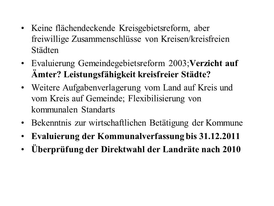 Keine flächendeckende Kreisgebietsreform, aber freiwillige Zusammenschlüsse von Kreisen/kreisfreien Städten Evaluierung Gemeindegebietsreform 2003;Ver