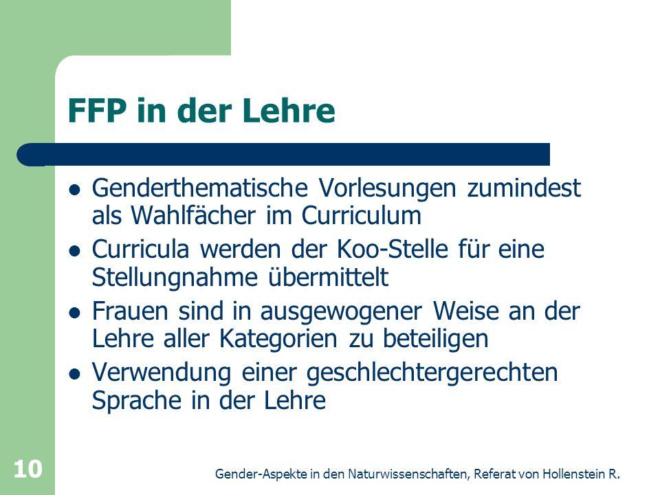 Gender-Aspekte in den Naturwissenschaften, Referat von Hollenstein R. 10 FFP in der Lehre Genderthematische Vorlesungen zumindest als Wahlfächer im Cu