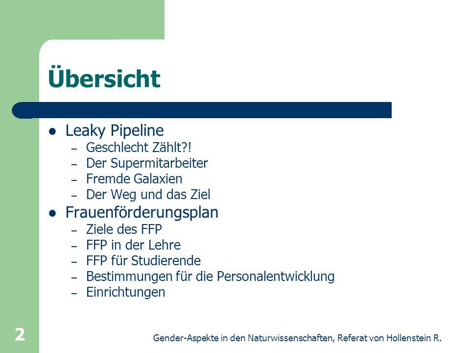 Gender-Aspekte in den Naturwissenschaften, Referat von Hollenstein R. 2 Übersicht Leaky Pipeline – Geschlecht Zählt?! – Der Supermitarbeiter – Fremde