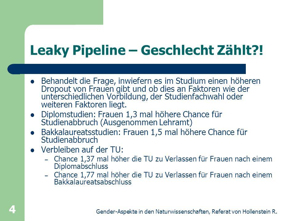 Gender-Aspekte in den Naturwissenschaften, Referat von Hollenstein R. 4 Leaky Pipeline – Geschlecht Zählt?! Behandelt die Frage, inwiefern es im Studi