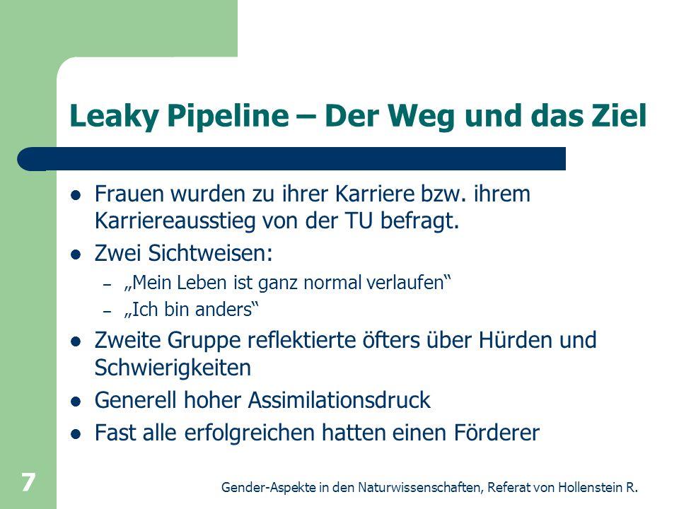 Gender-Aspekte in den Naturwissenschaften, Referat von Hollenstein R. 7 Leaky Pipeline – Der Weg und das Ziel Frauen wurden zu ihrer Karriere bzw. ihr