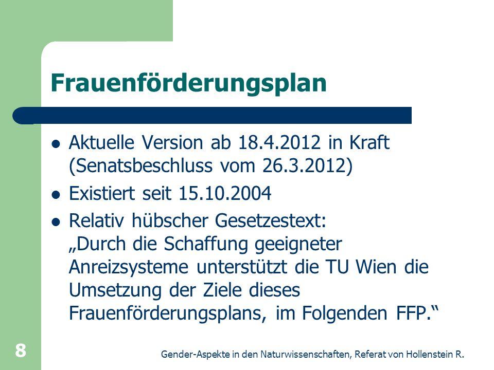 Gender-Aspekte in den Naturwissenschaften, Referat von Hollenstein R. 8 Frauenförderungsplan Aktuelle Version ab 18.4.2012 in Kraft (Senatsbeschluss v