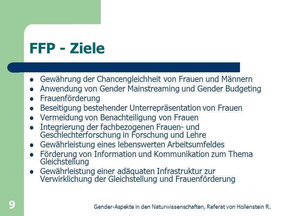 Gender-Aspekte in den Naturwissenschaften, Referat von Hollenstein R. 9 FFP - Ziele Gewährung der Chancengleichheit von Frauen und Männern Anwendung v