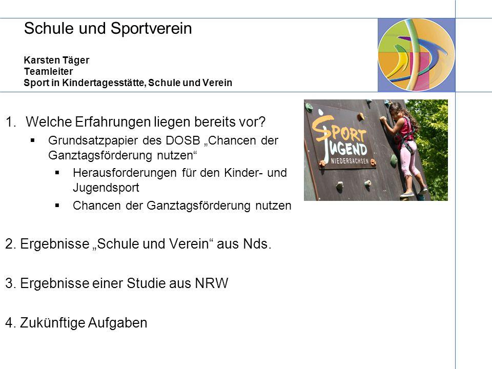 Schule und Sportverein Karsten Täger Teamleiter Sport in Kindertagesstätte, Schule und Verein 1.Welche Erfahrungen liegen bereits vor? Grundsatzpapier