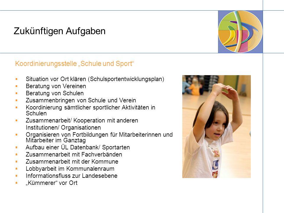 Zukünftigen Aufgaben Koordinierungsstelle Schule und Sport Situation vor Ort klären (Schulsportentwicklungsplan) Beratung von Vereinen Beratung von Sc