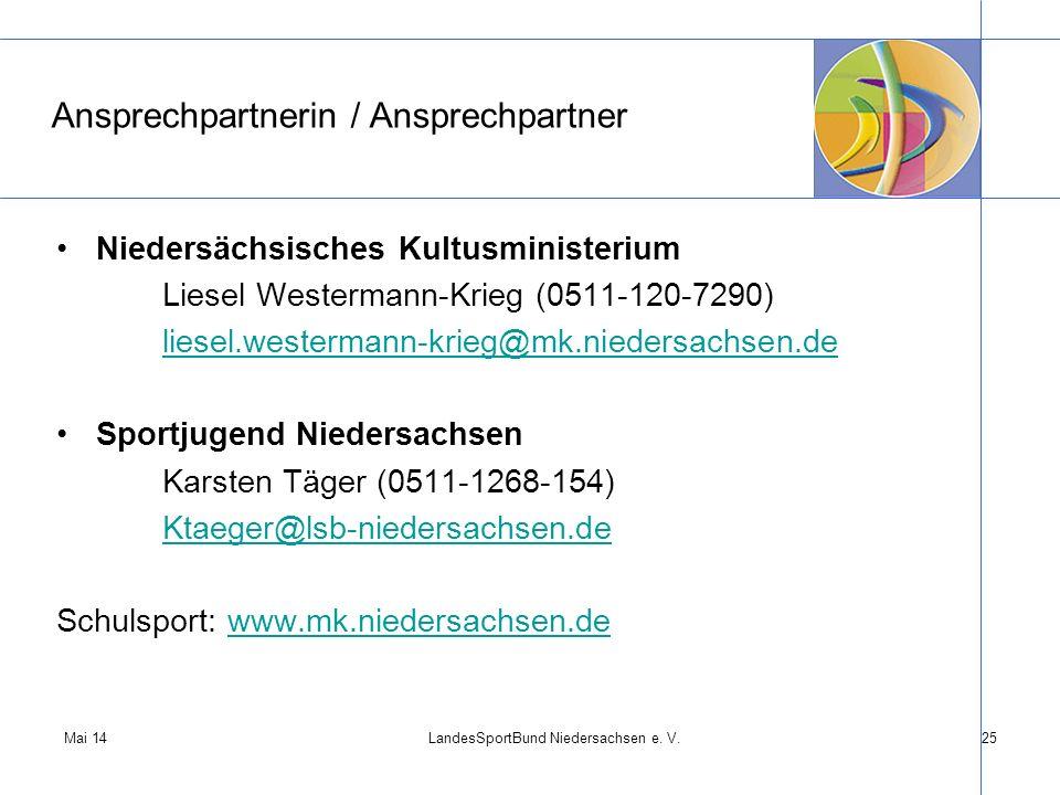 Mai 14LandesSportBund Niedersachsen e. V.25 Ansprechpartnerin / Ansprechpartner Niedersächsisches Kultusministerium Liesel Westermann-Krieg (0511-120-