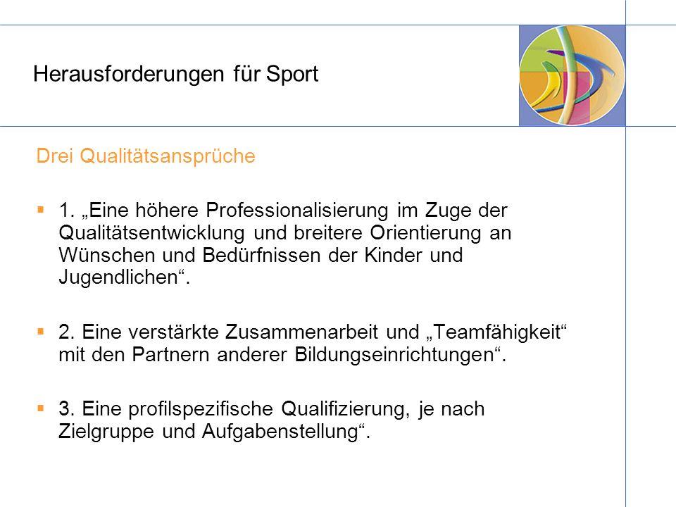 Herausforderungen für Sport Drei Qualitätsansprüche 1. Eine höhere Professionalisierung im Zuge der Qualitätsentwicklung und breitere Orientierung an