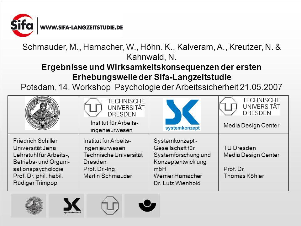 Friedrich Schiller Universität Jena Lehrstuhl für Arbeits-, Betriebs- und Organi- sationspsychologie Prof. Dr. phil. habil. Rüdiger Trimpop Institut f