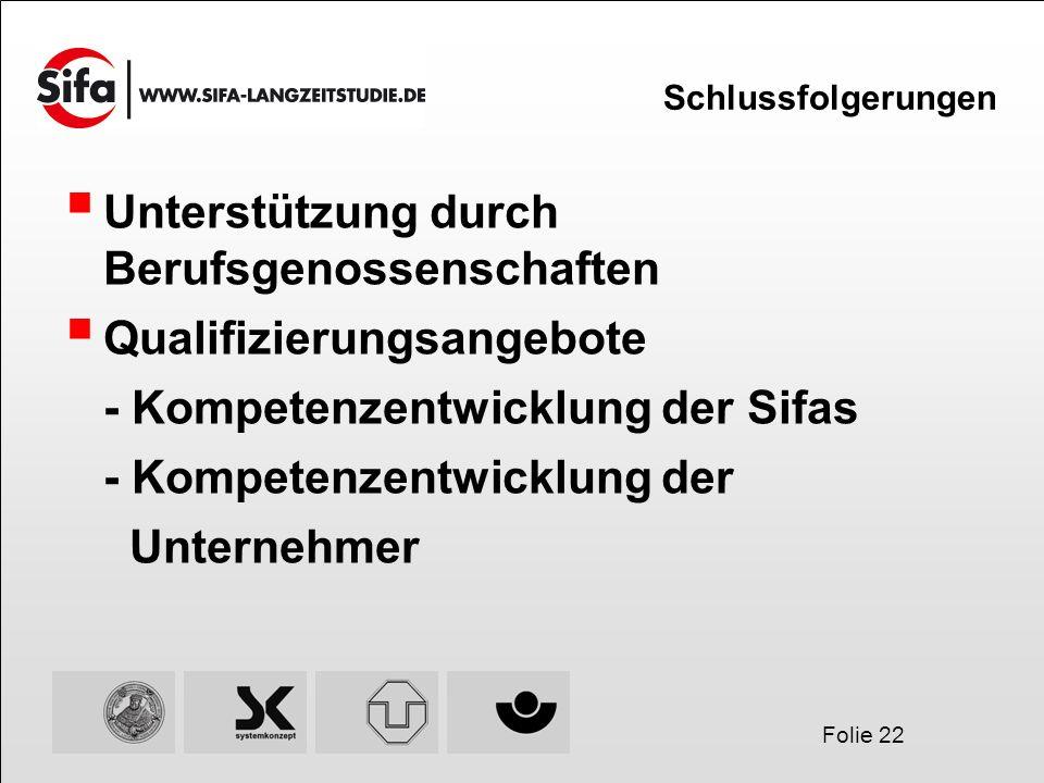 Folie 22 Schlussfolgerungen Unterstützung durch Berufsgenossenschaften Qualifizierungsangebote - Kompetenzentwicklung der Sifas - Kompetenzentwicklung