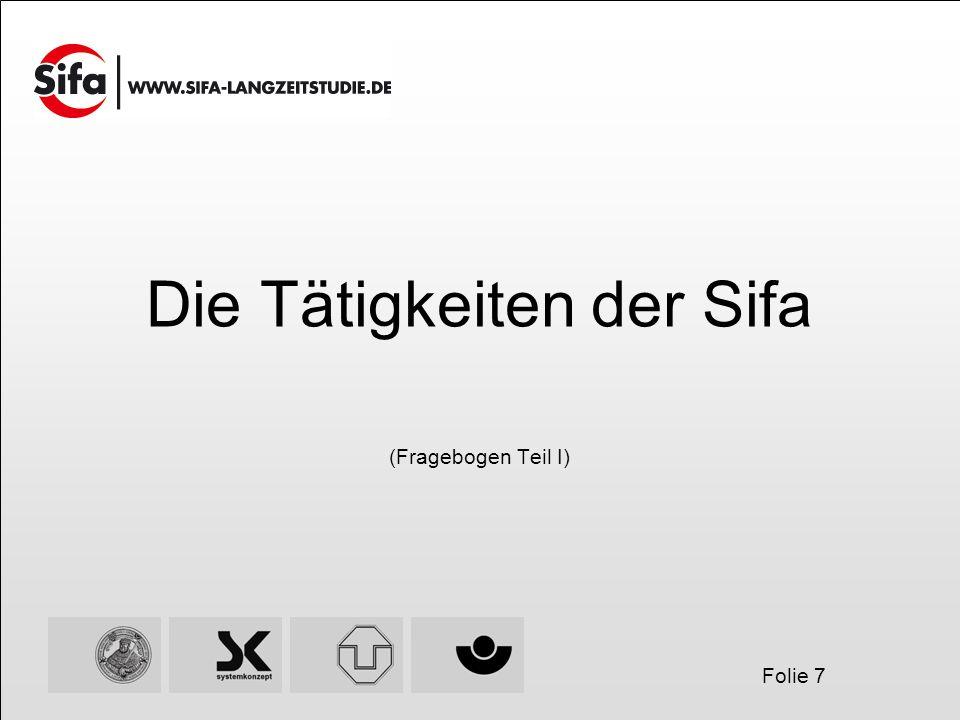 Folie 7 Die Tätigkeiten der Sifa (Fragebogen Teil I)