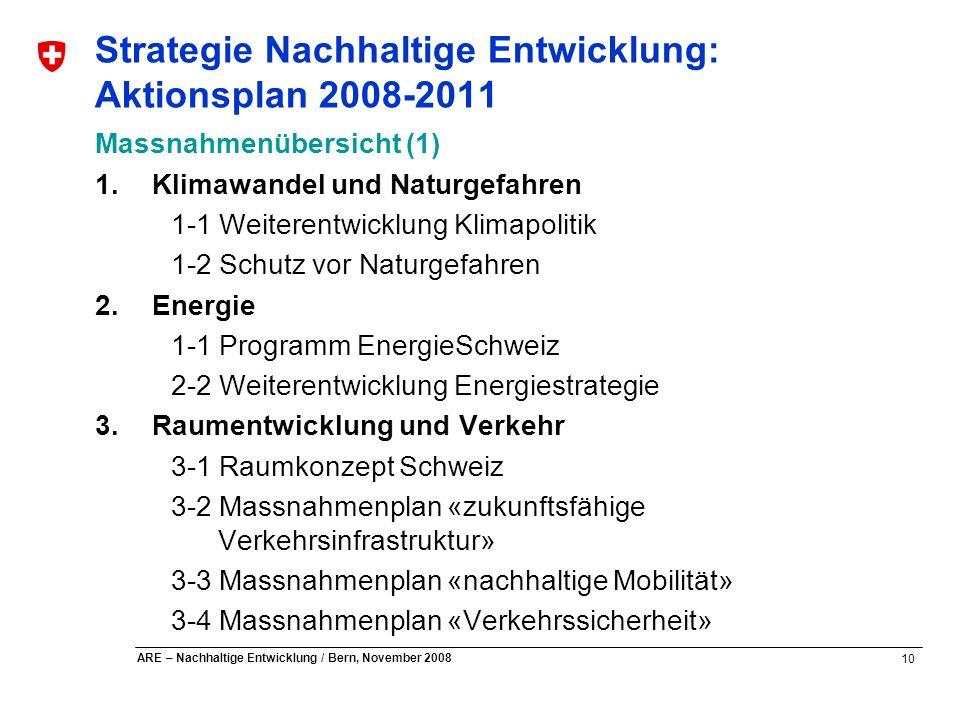10 ARE – Nachhaltige Entwicklung / Bern, November 2008 Strategie Nachhaltige Entwicklung: Aktionsplan 2008-2011 Massnahmenübersicht (1) 1.Klimawandel