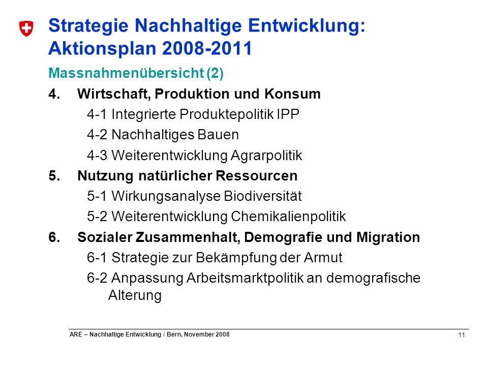 11 ARE – Nachhaltige Entwicklung / Bern, November 2008 Strategie Nachhaltige Entwicklung: Aktionsplan 2008-2011 Massnahmenübersicht (2) 4.Wirtschaft,