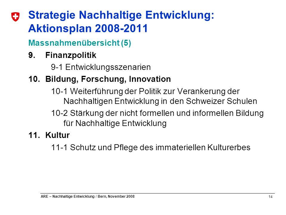 14 ARE – Nachhaltige Entwicklung / Bern, November 2008 Strategie Nachhaltige Entwicklung: Aktionsplan 2008-2011 Massnahmenübersicht (5) 9.Finanzpoliti