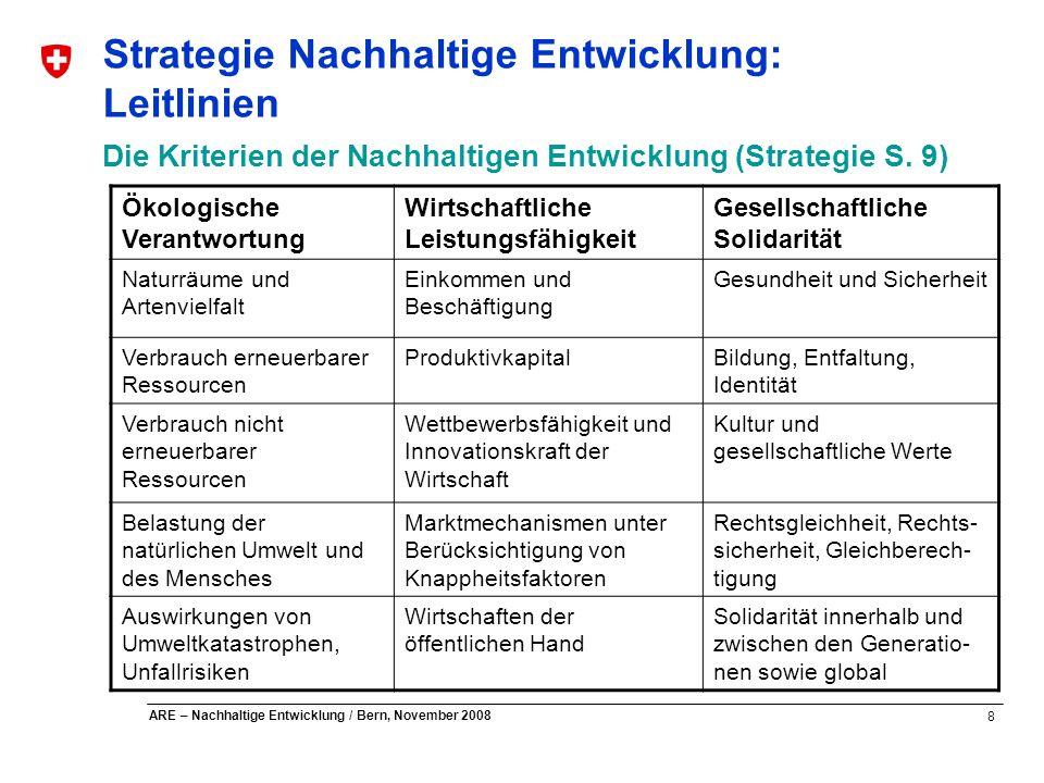 8 ARE – Nachhaltige Entwicklung / Bern, November 2008 Strategie Nachhaltige Entwicklung: Leitlinien Die Kriterien der Nachhaltigen Entwicklung (Strate