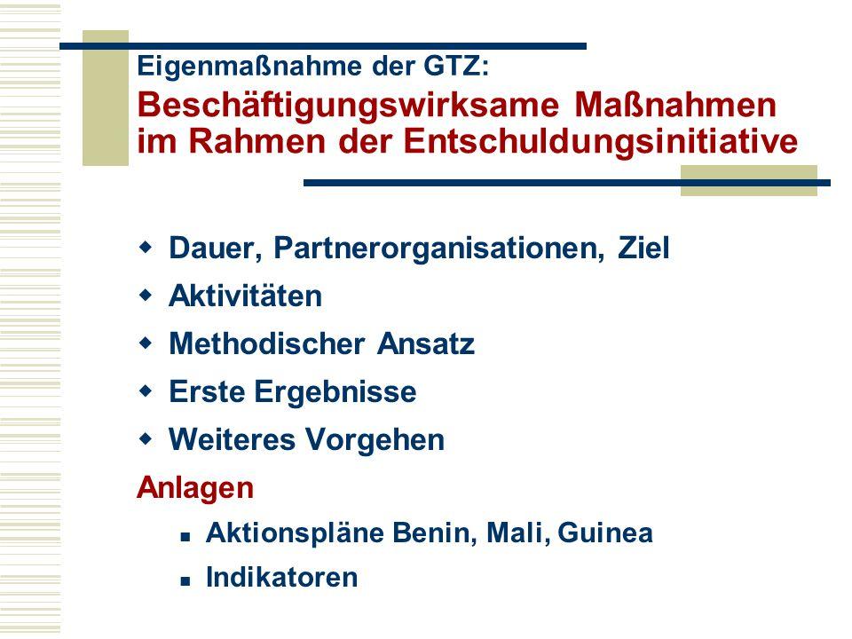 Beschäftigungswirksame Maßnahmen im Rahmen der Entschuldungsinitiative Dauer, Partnerorganisationen, Ziel Aktivitäten Methodischer Ansatz Erste Ergebnisse Weiteres Vorgehen Anlagen Aktionspläne Benin, Mali, Guinea Indikatoren Eigenmaßnahme der GTZ: