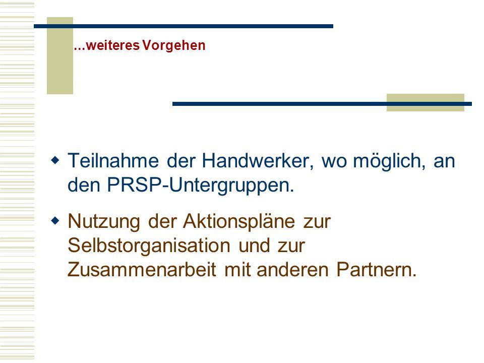 ...weiteres Vorgehen Teilnahme der Handwerker, wo möglich, an den PRSP-Untergruppen. Nutzung der Aktionspläne zur Selbstorganisation und zur Zusammena