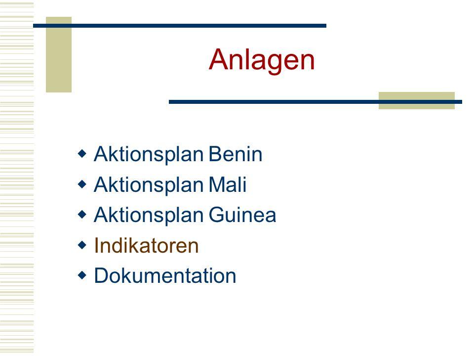 Anlagen Aktionsplan Benin Aktionsplan Mali Aktionsplan Guinea Indikatoren Dokumentation