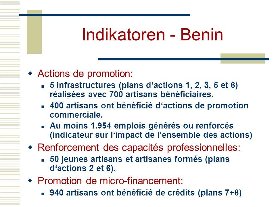 Indikatoren - Benin Actions de promotion: 5 infrastructures (plans dactions 1, 2, 3, 5 et 6) réalisées avec 700 artisans bénéficiaires.