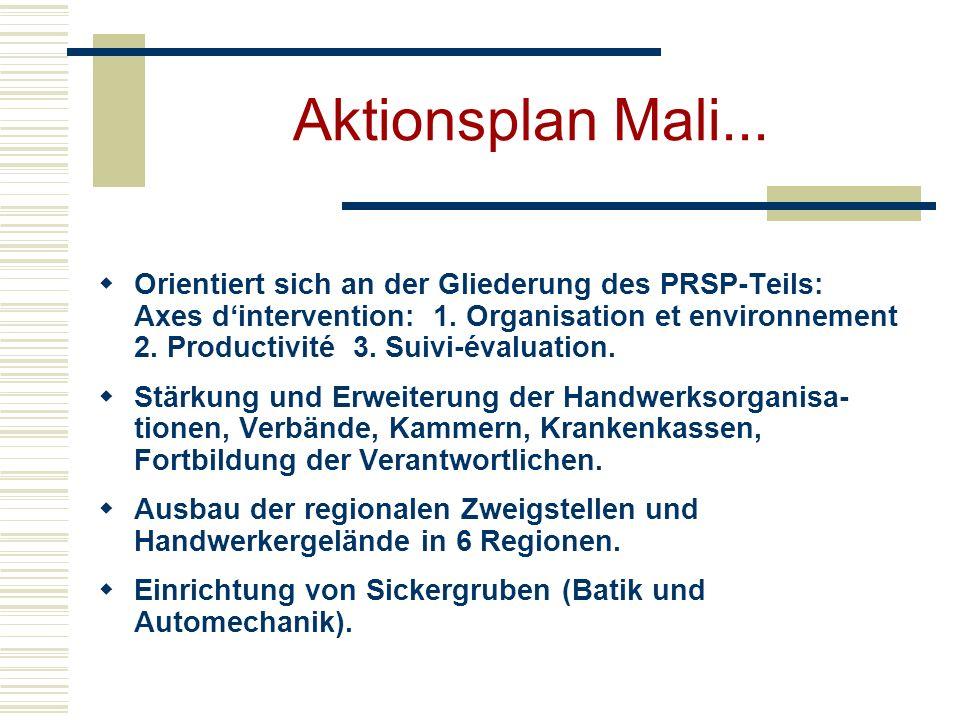 Aktionsplan Mali... Orientiert sich an der Gliederung des PRSP-Teils: Axes dintervention: 1. Organisation et environnement 2. Productivité 3. Suivi-év