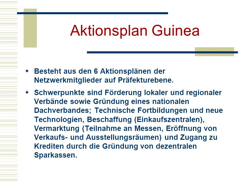 Aktionsplan Guinea Besteht aus den 6 Aktionsplänen der Netzwerkmitglieder auf Präfekturebene. Schwerpunkte sind Förderung lokaler und regionaler Verbä