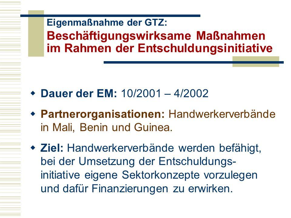 Beschäftigungswirksame Maßnahmen im Rahmen der Entschuldungsinitiative Dauer der EM: 10/2001 – 4/2002 Partnerorganisationen: Handwerkerverbände in Mali, Benin und Guinea.