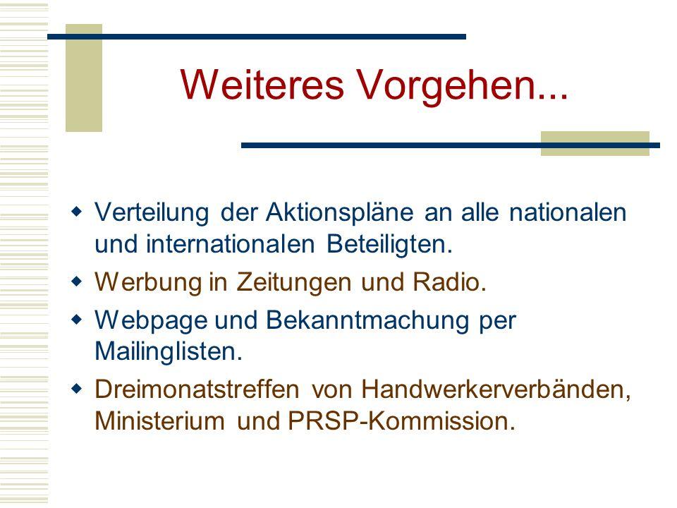 Weiteres Vorgehen... Verteilung der Aktionspläne an alle nationalen und internationalen Beteiligten. Werbung in Zeitungen und Radio. Webpage und Bekan