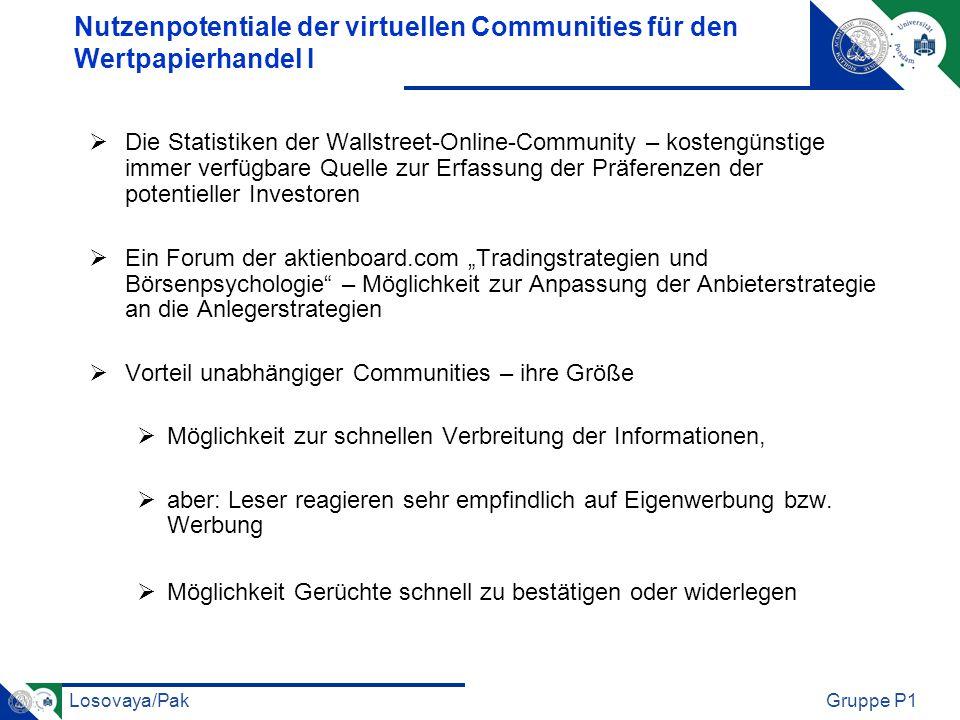 Losovaya/PakGruppe P1 Nutzenpotentiale der virtuellen Communities für den Wertpapierhandel I Die Statistiken der Wallstreet-Online-Community – kosteng