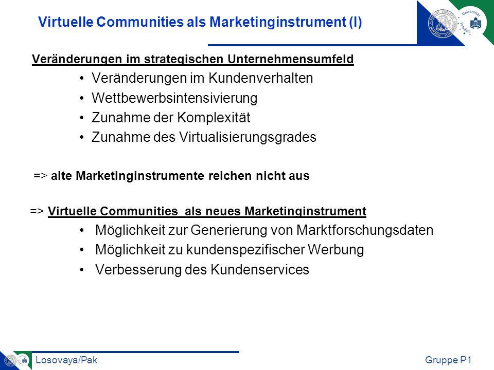 Losovaya/PakGruppe P1 Virtuelle Communities als Marketinginstrument (I) Veränderungen im strategischen Unternehmensumfeld Veränderungen im Kundenverha
