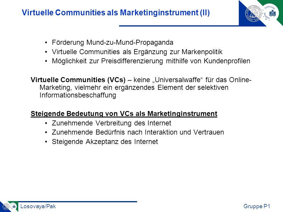 Losovaya/PakGruppe P1 Virtuelle Communities als Marketinginstrument (II) Förderung Mund-zu-Mund-Propaganda Virtuelle Communities als Ergänzung zur Mar