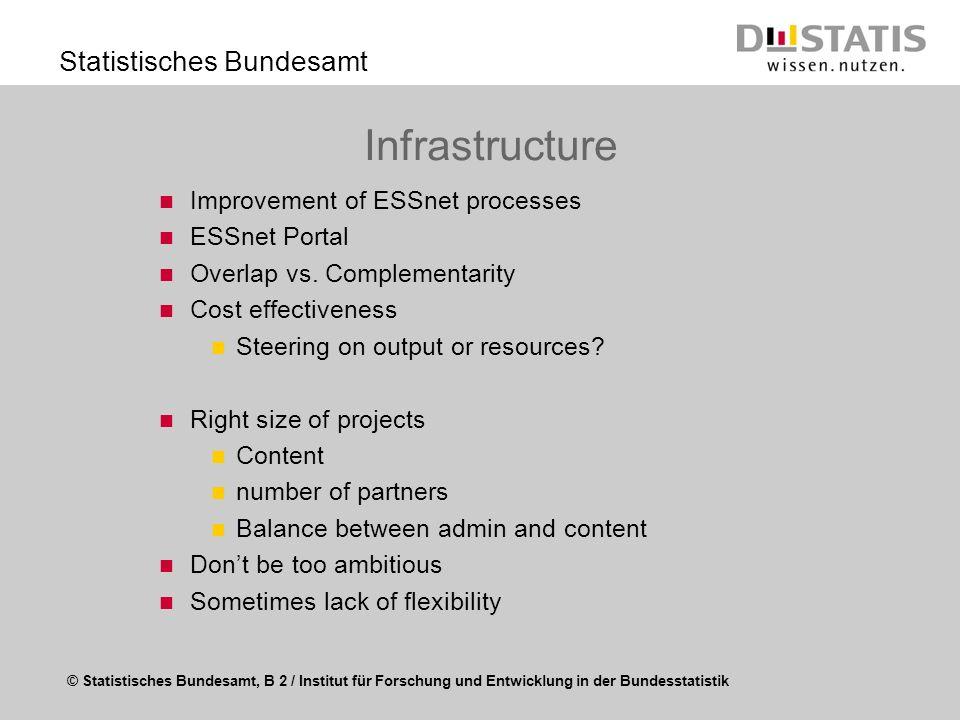 © Statistisches Bundesamt, B 2 / Institut für Forschung und Entwicklung in der Bundesstatistik Statistisches Bundesamt Infrastructure Improvement of E