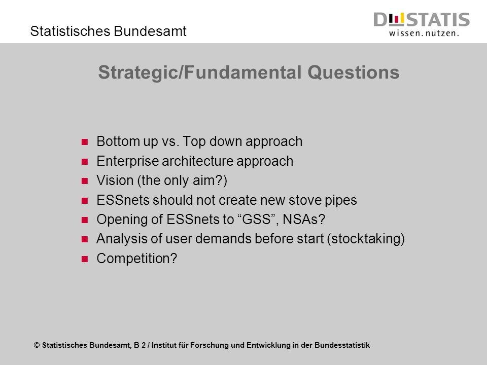 © Statistisches Bundesamt, B 2 / Institut für Forschung und Entwicklung in der Bundesstatistik Statistisches Bundesamt Strategic/Fundamental Questions