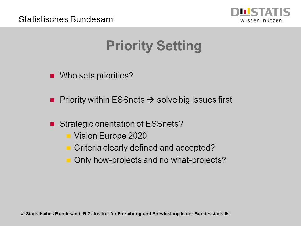 © Statistisches Bundesamt, B 2 / Institut für Forschung und Entwicklung in der Bundesstatistik Statistisches Bundesamt Governance of ESSnets Embedment in ESS strategy Role of the ESSnet in the ESS-organisation Reporting structure to ESS Strong input from Eurostat