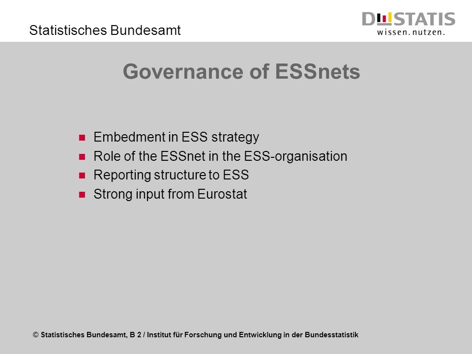 © Statistisches Bundesamt, B 2 / Institut für Forschung und Entwicklung in der Bundesstatistik Statistisches Bundesamt Governance of ESSnets Embedment
